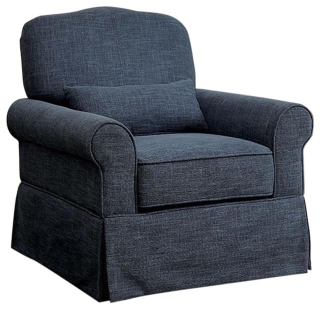 Lesly Transitional 360 Swivel Rocker Chair Dark Blue