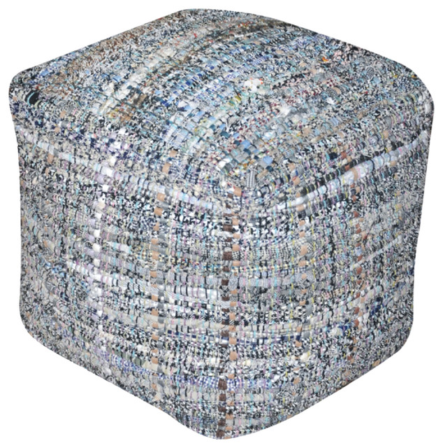 Kamil Recycled Fabric Artisan Cube Pouf - Southwestern - Floor Pillows And Poufs - by GDFStudio