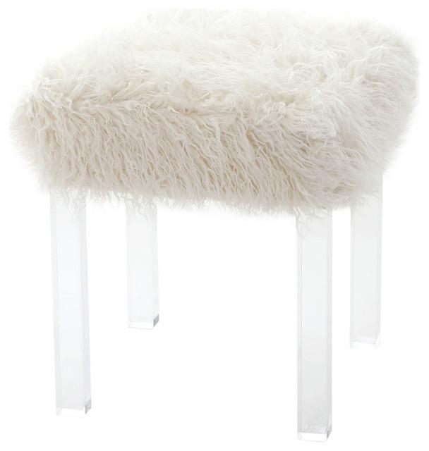 Mongolian Lamb Faux Fur Clear Acrylic Square Leg Stool
