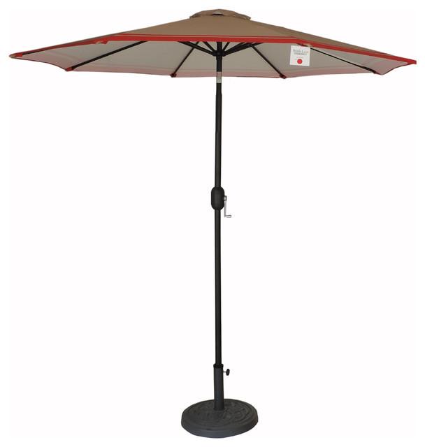 9 Premium Patio Market Umbrella Tan/red Stripes, Crank And Tilt.