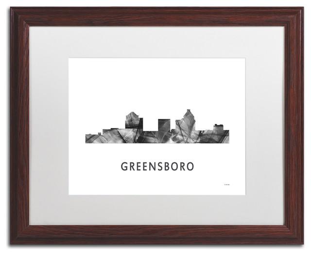 Trademark Fine Art Greensboro Nc Skyline Matted Framed