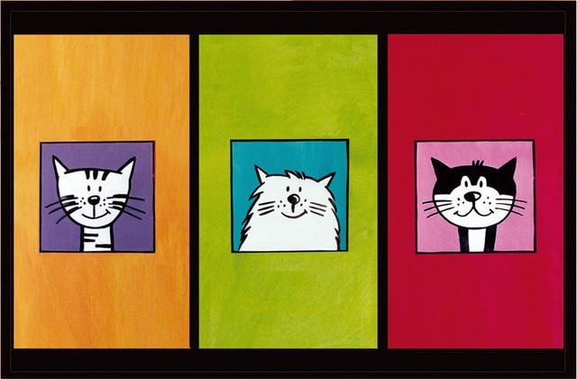 Cute Cat Trio Gallery Door Mat, Small