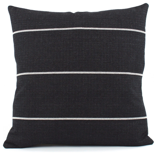Streamline Black Throw Pillow, 22