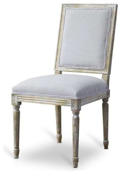 Baxton Studio Clairette Wood Traditional French Accent Chair Farmhouse  Dining Chairs