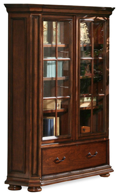 "Riverside Cantata 76"" Glass Door Bookcase, Burnished Cherry - Bookcases - by Harvey & Haley"
