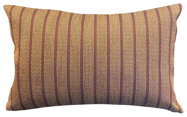 Burgundy Vertical Stripes Decorative Lumbar Pillow Cover.