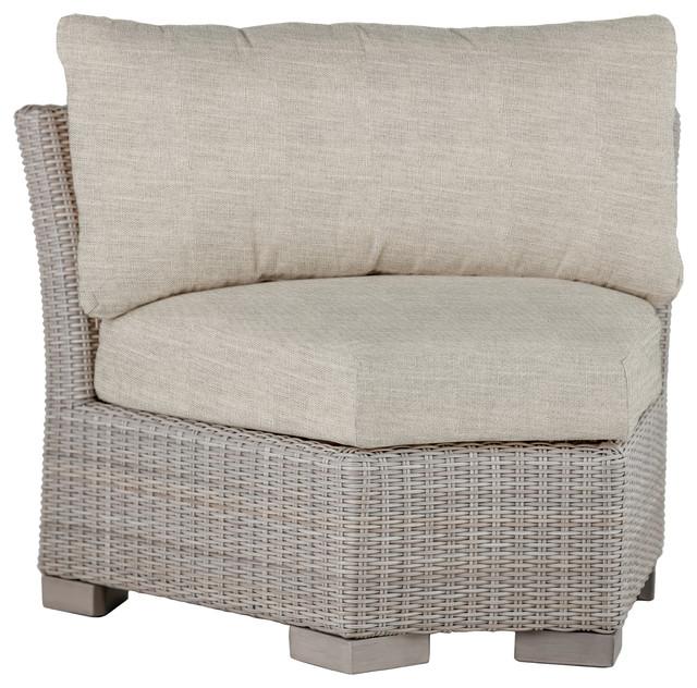 Summer Classics Club Woven Inside Round Corner Sectional, Linen Dove Cushion
