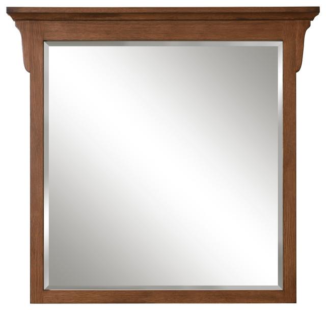 Mission Oak Framed Beveled Mirror