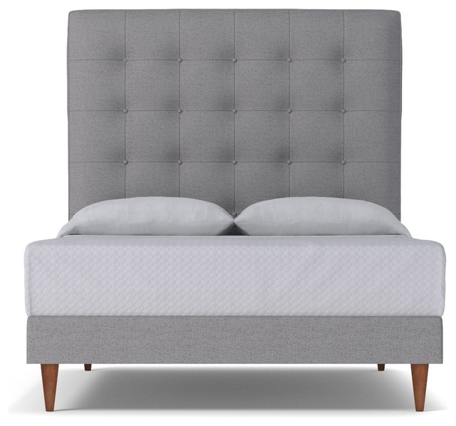 Palmer Upholstered Bed, Mountain Gray, Queen.
