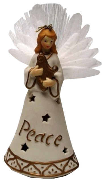 Roman Porcelain Fiber Optic Angel Ornaments, 2-Piece Set