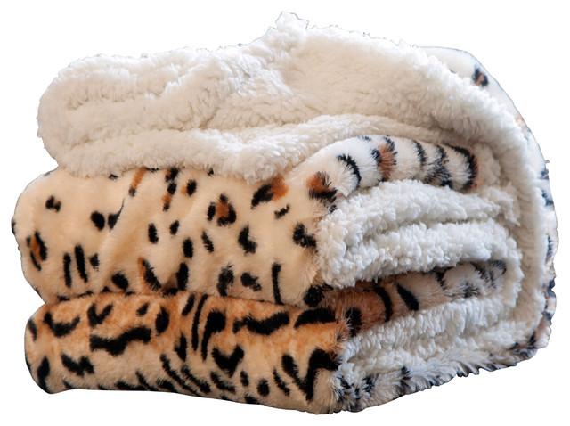 Animal Print Fleece Sherpa Blanket Throw, Tiger