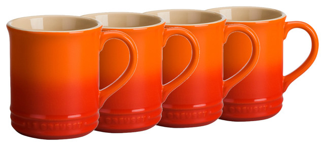 Le Creuset Stoneware 12 Oz Coffee Mugs Flame Set Of 4