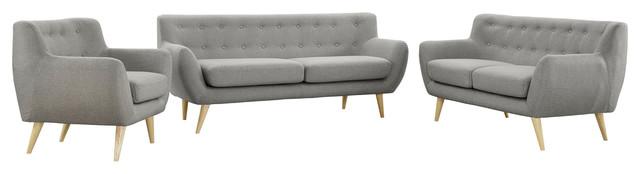 Modern Contemporary Living Room 3-Piece Set, Gray, Fabric, Plywood.