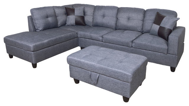 MicroFiber L Shape Sectional Sofa with Ottoman, Left Hand Facing Chaise