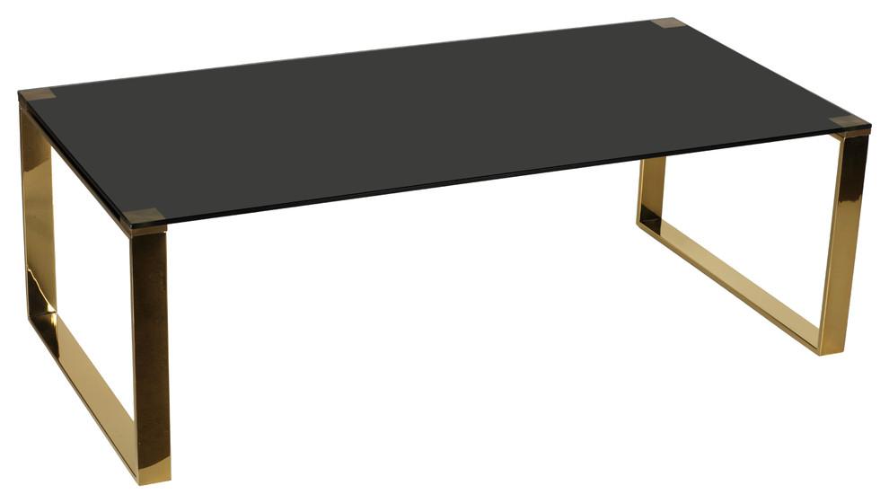 Cortesi Home Remini Coffee Table Gold Metal And Black