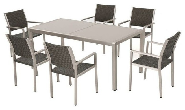 Gdf Studio 7 Piece C Bay Outdoor Gray Aluminum Dining Set Gl Table Top Tropical Sets By Gdfstudio