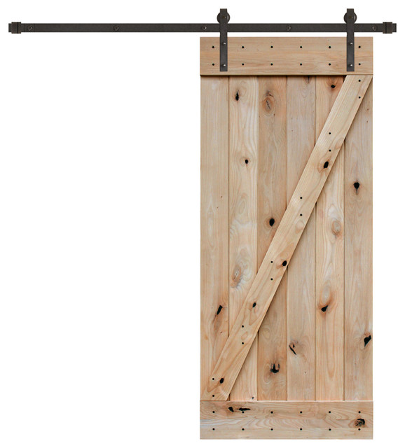 Unfinished Interior Knotty Alder Z Plank Barn Door Kit