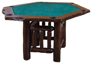 Rustic Live Edge Red Cedar Log Hexagon Game Table   Rustic   Game Tables    By Furniture Barn USA