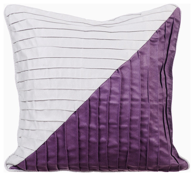 Purple Decorative Pillow Covers 18 X18 Suede Fabric Laudinal