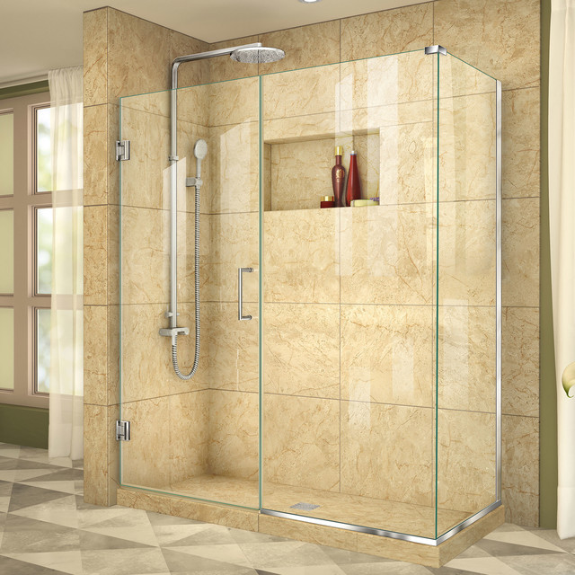 "DreamLine Unidoor Plus 58""x34-3/8""x72"" Shower Enclosure, Chrome Finish"