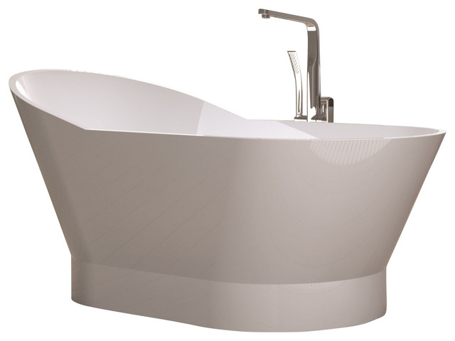 Adm White Solid Surface Stone Resin Bathtub Contemporary Bathtubs