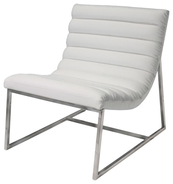 Gdf Studio Kingsbury White Leather Lounge Accent Chair Contemporary Armchairs And Chairs By Gdfstudio