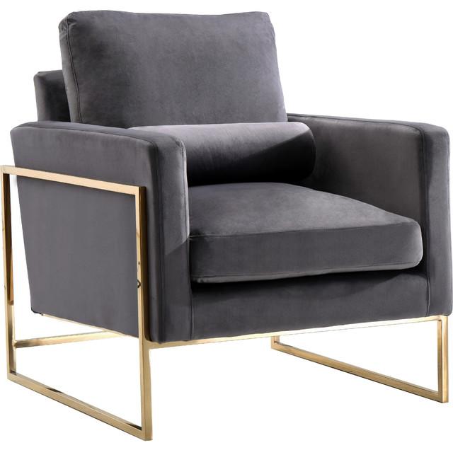 Mila Velvet Chair, Gray