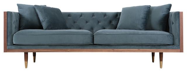 Kardiel Woodrow Neo Classic Midcentury Modern Sofa, Walnut/neptune.