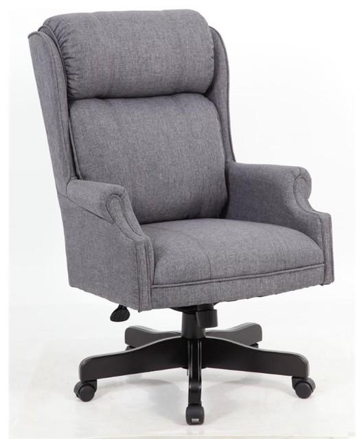 Boss High Back Executive Chair Slate Gray Commercial Grade Linen