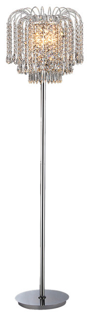 "Xyrisse 4-Light Crystal 58"" Floor Lamp, Chrome."
