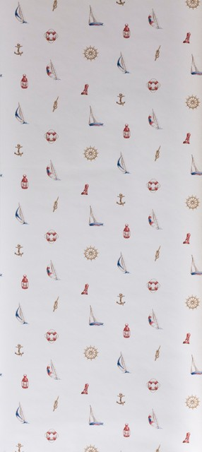 White Small Print Nautical Wallpaper Beach Style