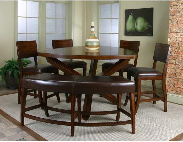 Beau Cramco Shiraz 6 Piece Counter Height Dining Set With Bench Multicolor    87683 62