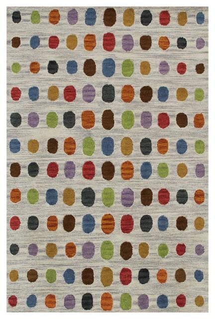 Spotted Wimbledon Wool Rug, Light Grey, 120x180 cm