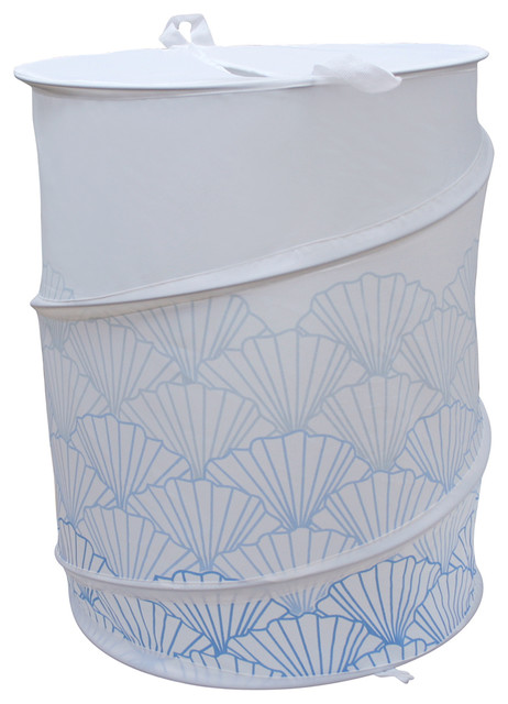 Polyester Collapsible Hamper With A Blue Shell Design.
