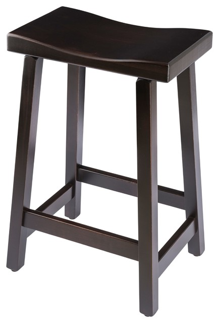 "Urban Rustic Saddle Bar Stool, Maple Wood , Onyx Stain, Bar Height, 30""."