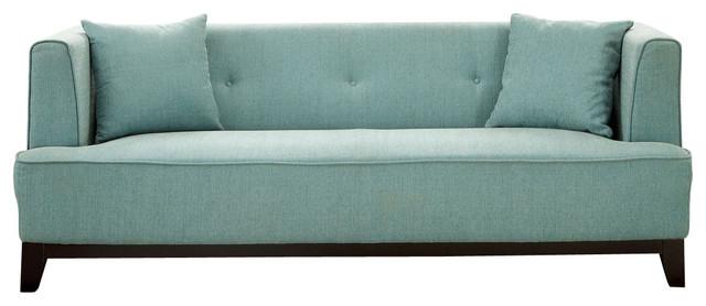 Modern Teal Blue Fabric Sofa Sofas By Silver Coast Company