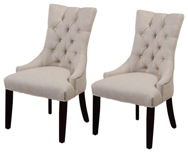 Thelma Tufted Parsons Chairs, Set Of 2, Plain.