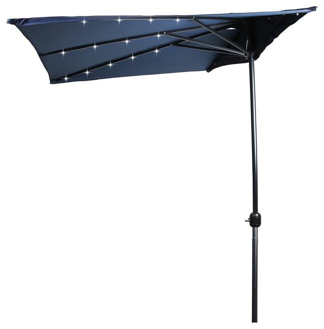 5u0027 led rectangular patio half umbrella blue