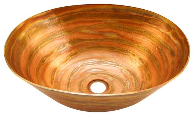 Oval Vessel Bathroom Copper Sink - Very Thick Gauge 14