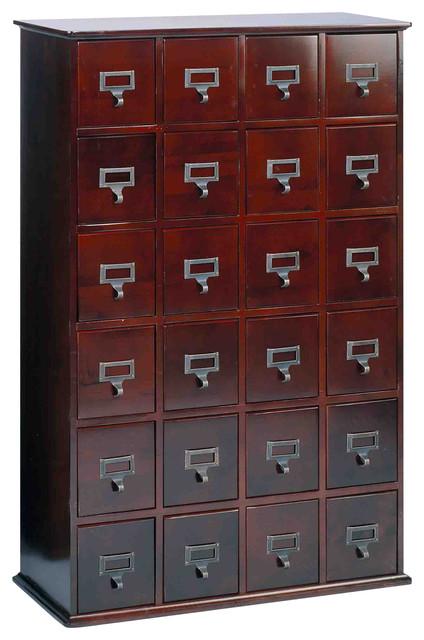 Leslie Dame 24 Drawer CD Media Storage Cabinet, Cherry
