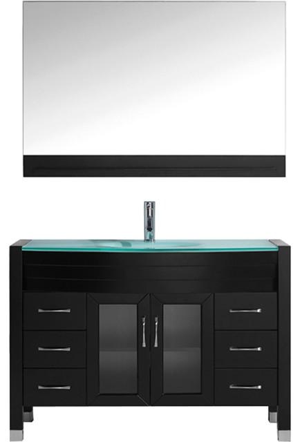 "Geilo Black Bathroom Vanity, Aqua Round, Tempered Glass, Polished Chrome, 48""."
