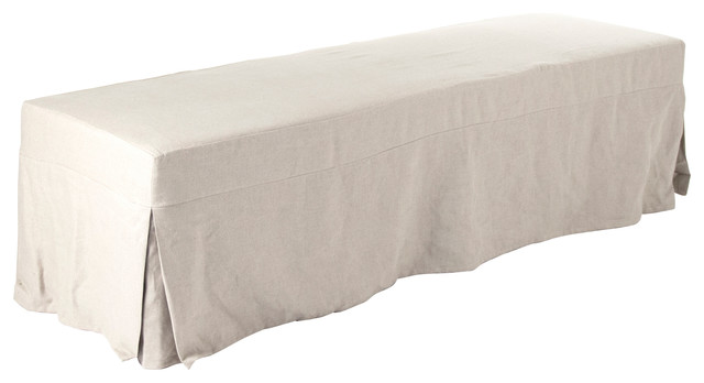 Ondine French Country Beige Linen Slipcovered Bench.