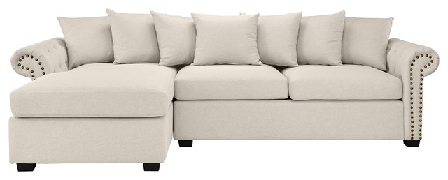 Modern Linen Fabric Scroll Arm L Shape Sectional Sofa, Beige.