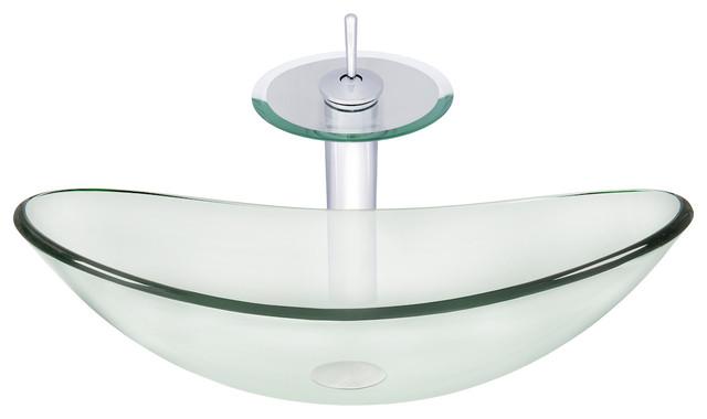 Novatto Chiaro Glass Vessel Bathroom Sink Set, Chrome/clear Glass.