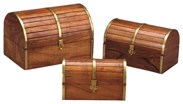 Barrel Top Wooden Boxes In Medium Brown Finish Set Of 3