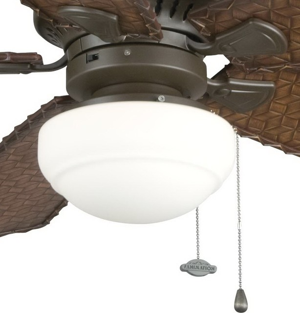 Fanimation Low Profile Round Glass Ceiling Fan Light Kit X