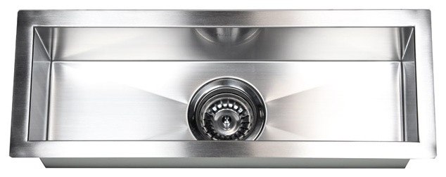 23 Stainless Steel Undermount Single Narrow Bowl Kitchen Bar Prep Sink Contemporary