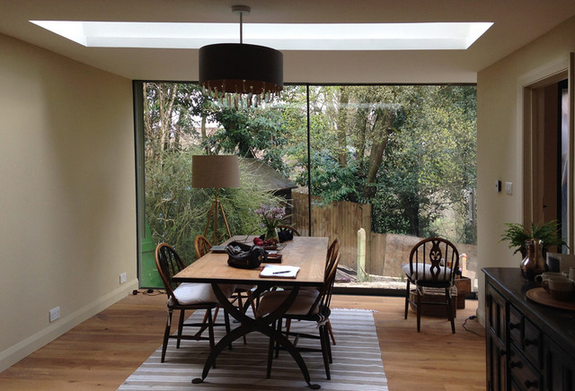 Full height glazing roof light in new dining room for Dining room light height