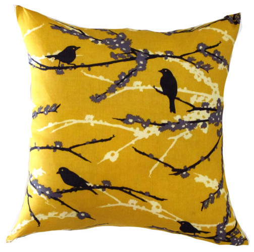 yellow pillow cover mustard bird pillow yellow floral pillow yellow cushion 16x contemporary. Black Bedroom Furniture Sets. Home Design Ideas