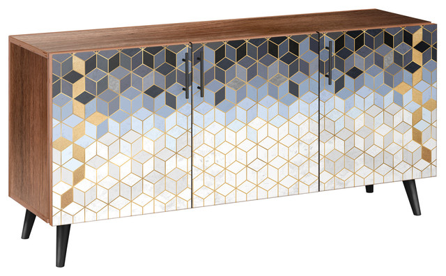 Midnight Gold Deco Flare Sideboard Contemporary Buffets And
